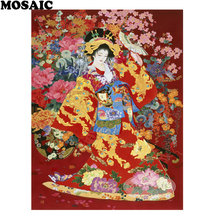 5d diamond painting, japanese geisha rhinestones,painting rhinestones,5d mosaic,square diamond,home Decoration B200