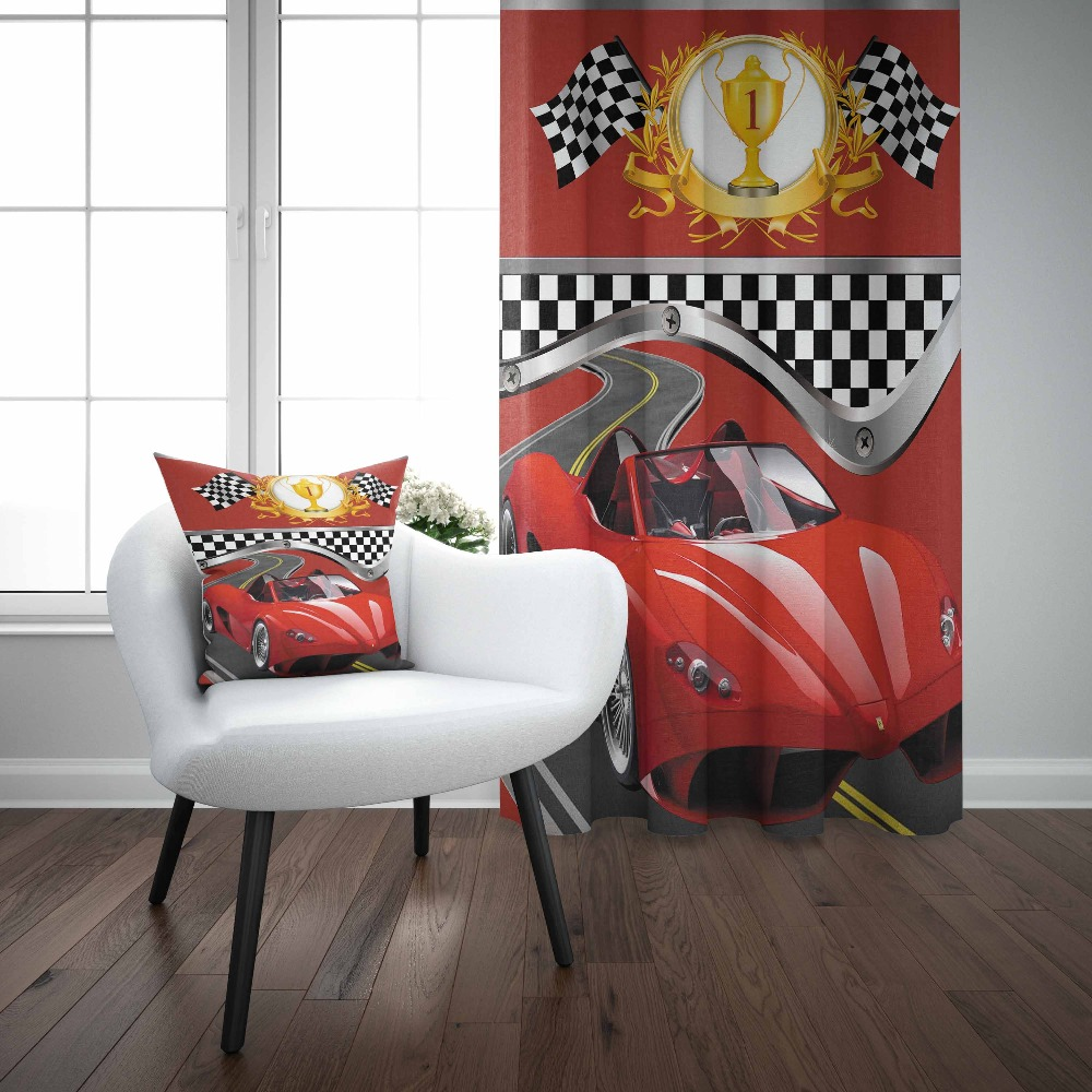 Else Red Racing Car White Black Flag Race Cup Boys 3d Kids Print Baby Children Window Panel Set Curtain Combine Gift Pillow Case