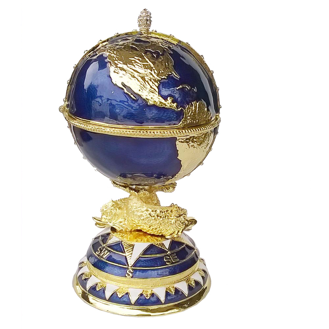 Globe Faberge Inspired Egg trinket box Russian craft metal jewerly ring box  bejeweled bling jewelry birthday gifts collectibles 6ee6cb4f0bea