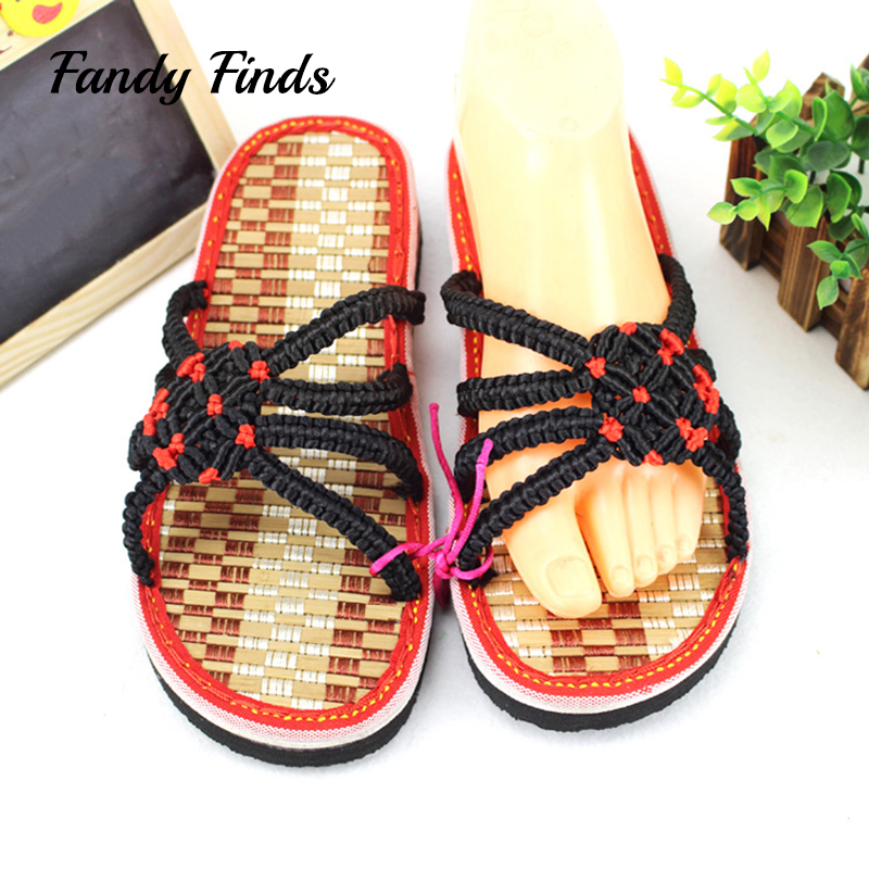 Fandy Finds Hand-Woven Bamboo EVA Sole High Quality Women Summer Beach Casual OutWear Wedges Girl HandMade Slippers Lady Slides