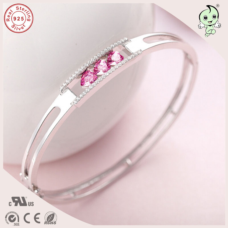 Popular Good Quality Gift Silver Jewelry Bangle Pink Love Heart Famous Crystals 925 Pure Silver Bangle popular good quality gift silver jewelry bangle pink love heart famous crystals 925 pure silver bangle