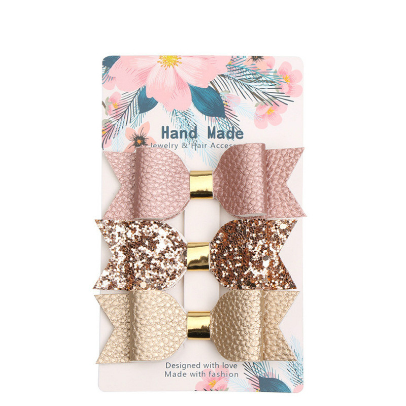 3pcs Mermaid Hair Bows Glitter Hair Clip Rose Gold Sparkly Leather Pretty Headband Hairpins Princess Party Headdress