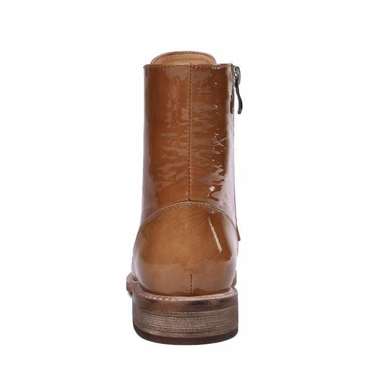 MLJUESE 2019 mujeres botas de cuero y encaje color camel del dedo del pie redondo primavera otoño bajo tacón botas de mujer
