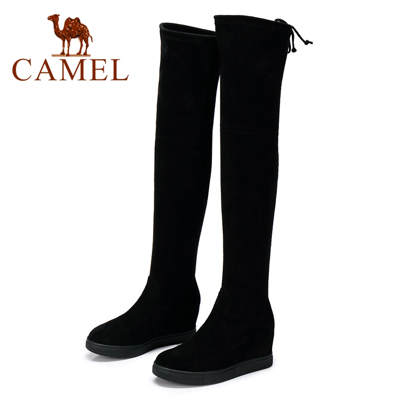 CAMEL Winter Over The Knee Thigh High Boots Women Shoes 2018 Fashion Warm Platform High Heel Lace Plush Suede Long Boots Ladies