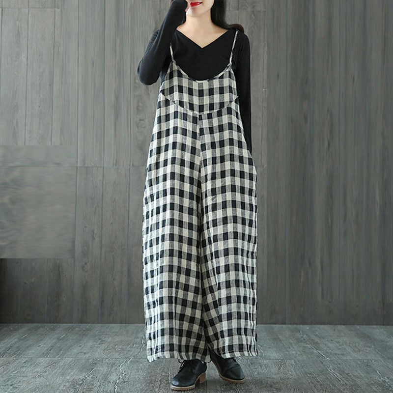 ZANZEA Women Strappy Check Plaid Dungaree Jumpsuits Overalls Vintage Female Wide Leg Casual Loose Harem Pants Long Trousers