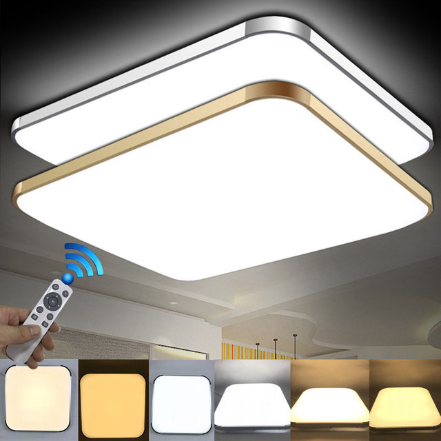 Modern 2.4G RF Remote Control Square Aluminum Acrylic LED Ceiling Lamp Cold White+Warm White Stepless Dimming LED Ceiling Light