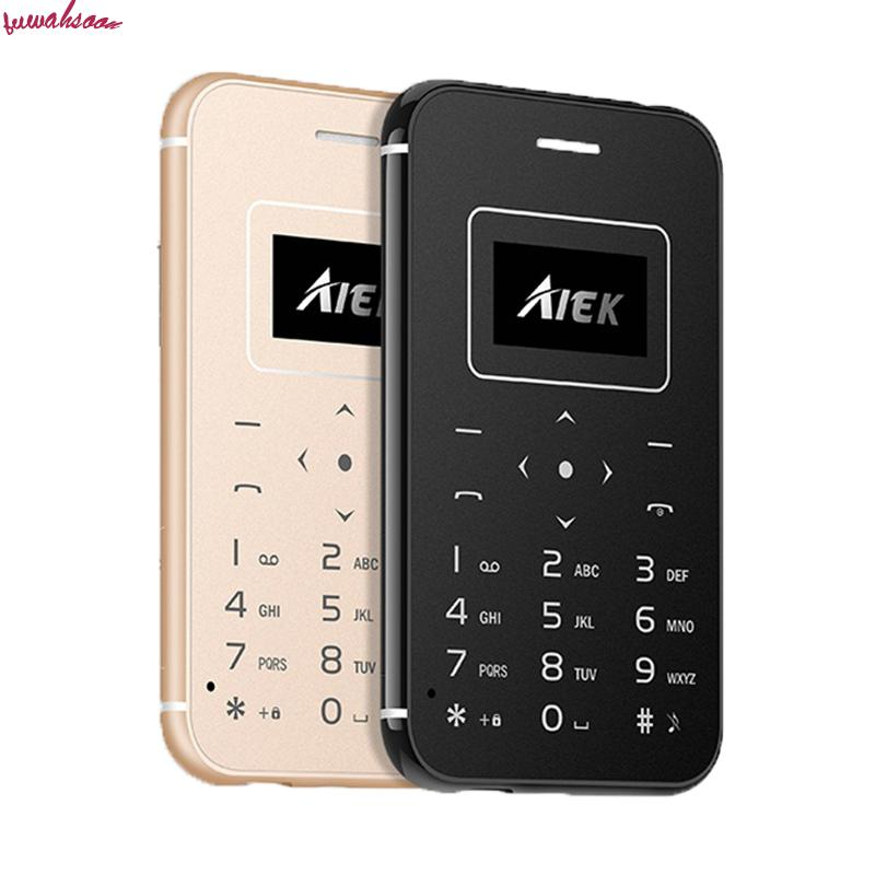 Original Aiek X8 Ultra Thin Card Mobile Cell Phones Mini Pocket Students Personality Low Radiation Support Tf Card Led Torch(China)