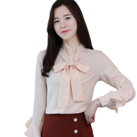 2018 Spring Autumn Korean Style Chiffon Red Butterfly Sleeve Blouse Tops Female Bow Elegant Blusas Women Casual Shirts CM2529
