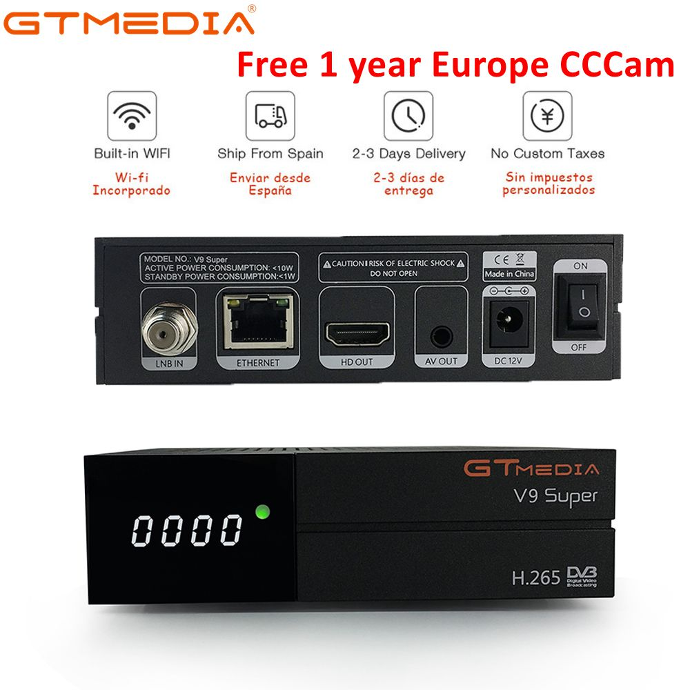 цена на GT Media V9 Super DVB-S2 Satellite Receiver Freesat V8 Super New Version H.265 WIFI+1Year Europe Spain PT DE PO CCcam TV decoder