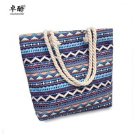 fashion Bohemian bag canvas striped Casual Tote with large size simple Shopping Big floral Messenger Shoulder Beach bags baobao