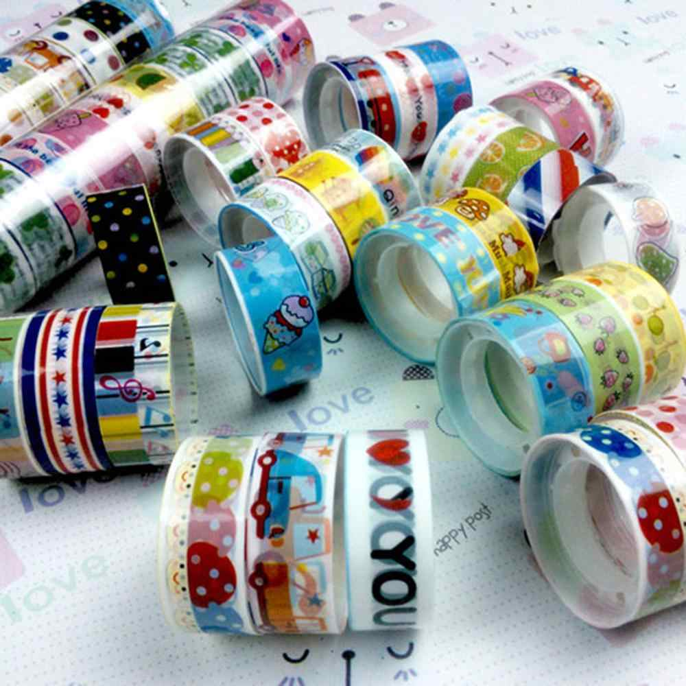 Warna Warni Washi Tape Dekoratif Masking Pola Kartun DIY Dekorasi untuk DIY Kerajinan Tangan, Anak-anak Proyek Seni, Buku Tempel, jurnal