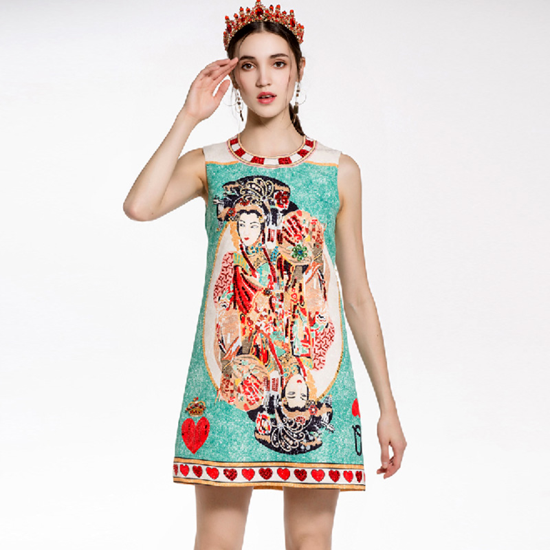 New Arrival 2018 Womens O Neck Sleeveless Vintage Printed Beaded A Line Fashion Short Dresses