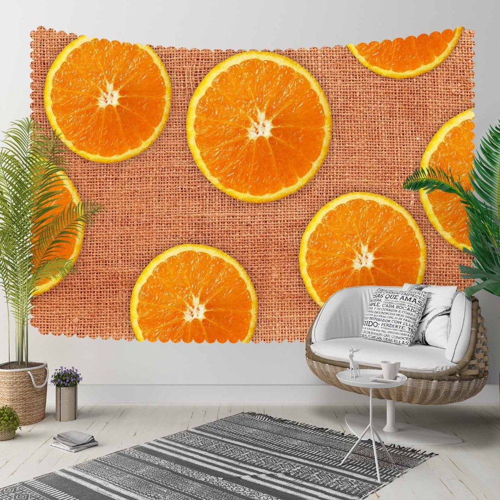 Else Brown Wicker On Slice Of Orange Fruits Floral 3D Print Decorative Hippi Bohemian Wall Hanging Landscape Tapestry Wall Art