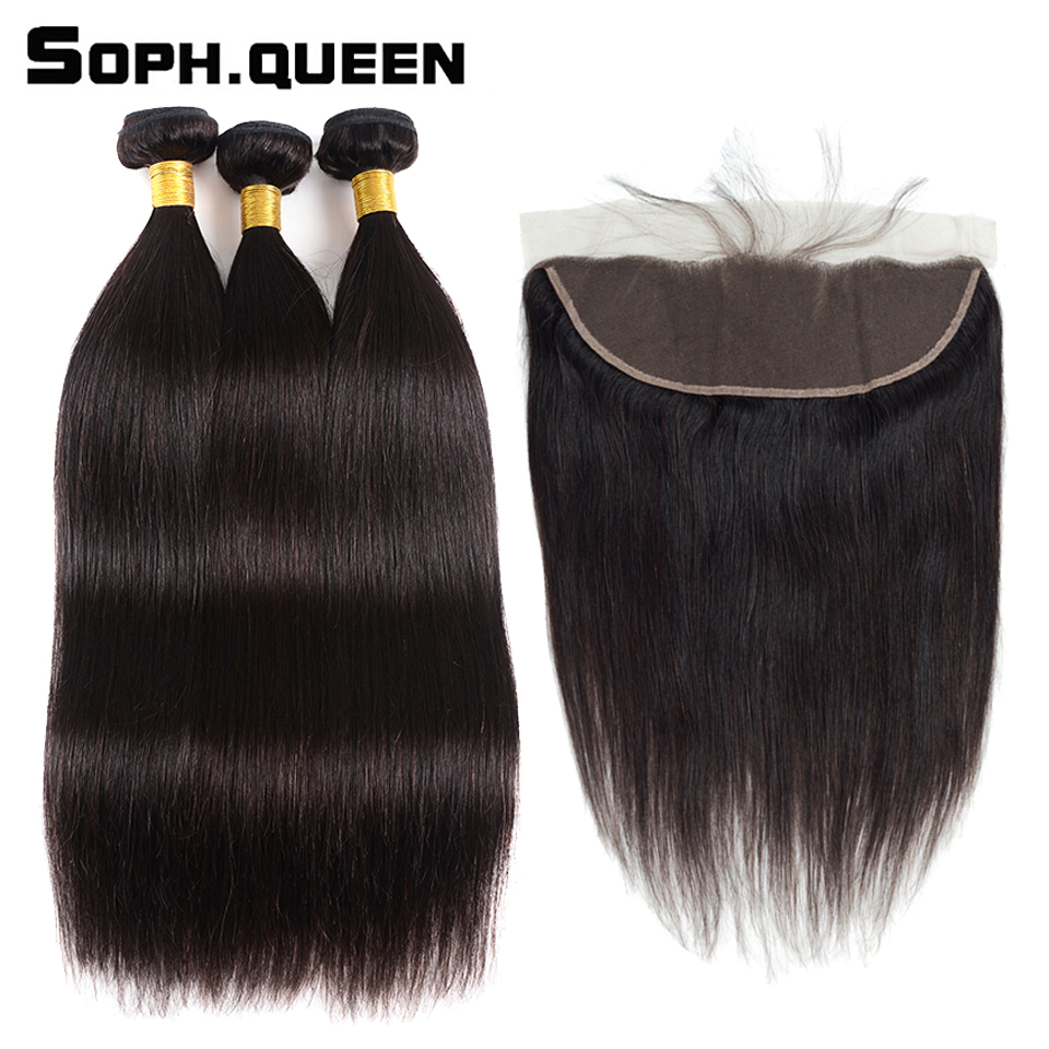 Soph Queen Brazilian Straight 3 Bundles With Frontal Remy Human Hair Natural Color 8 26 inch