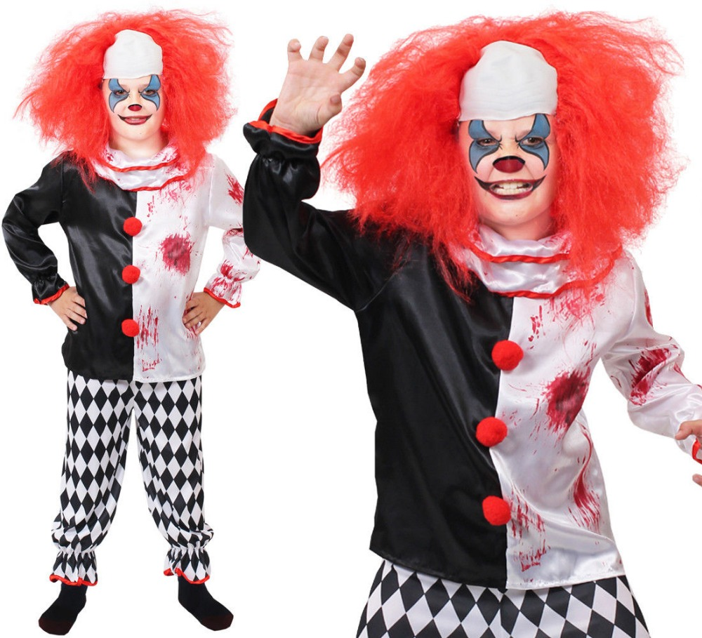 NEW FAST SHIPPING CHILDS KILLER CLOWN COSTUME BOYS GIRLS HORROR SCARY HALLOWEEN FANCY DRESS COSPLAY