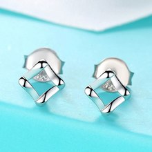 Mini Hollow Out Square Alloy Stud Earrings For Women Hot-selling Simple Geometry Smooth Metal Earring Ear Jewelry Drop Shipping(China)
