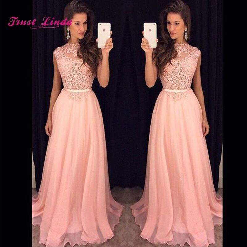 Wedding Bridesmaid Long Dress O Neckline A Line Sheer Pink Bridesmaid Dress Long Pink Dress Vestidos Madrinha De Casamento