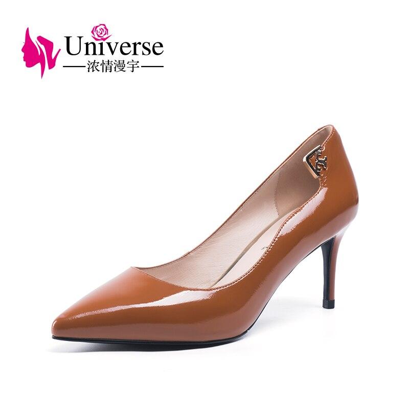 Вселенная мелкой вечерние в сдержанном стиле из лакированной кожи туфли-лодочки без шнуровки на шпильках повседневные платья обувь на кабл...