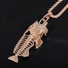 Fish Bon & Fishing Hook Pendant Necklace