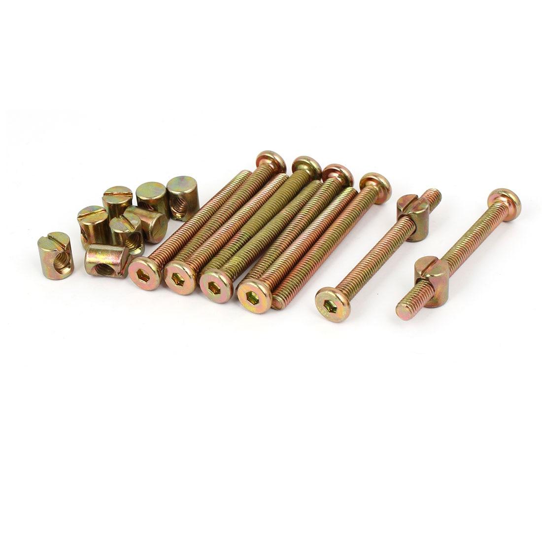 UXCELL 10 Conjunto M6x60 mm Cap Hex Chave Soquete da Movimentação de Móveis Porca Barril Bolt W M6x12mm Para Unir Placas de Madeira Bancadas de Cozinha
