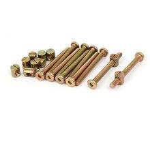 цены UXCELL M6x60mm Hex Key Drive Socket Cap Furniture Bolt W M6x12mm Barrel Nut 10 Set