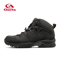 Clorts Cow Suede Hiking Shoes EVA Deodorant Outdoor Shoes Uneebtex Waterproof Anti Slippery Hiking Boots HKM