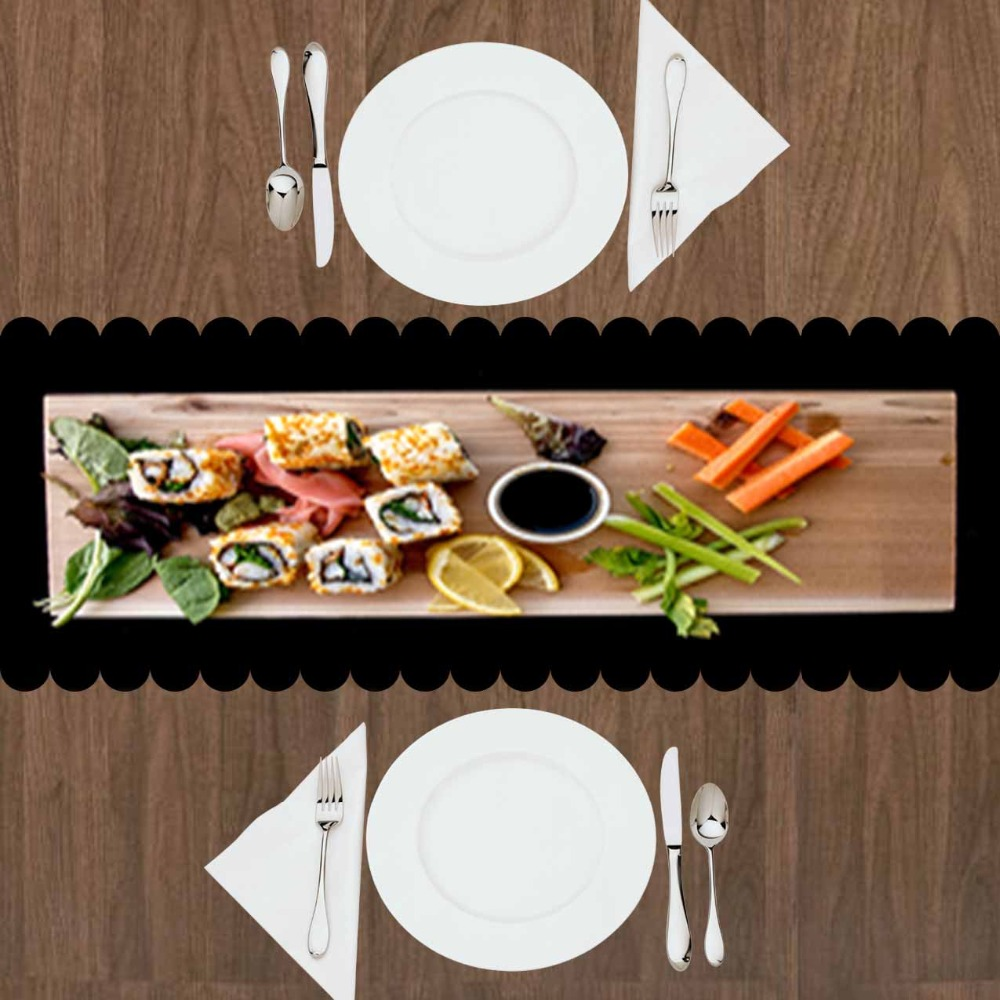 Else Wooden Sushi Table Orange Carrot Fish Spices 3d Print Pattern Modern Table Runner For Kitchen Dining Room Tablecloth