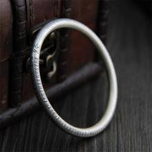 Buddhism Heart Sutra Bangle For Women Real 999 Pure Silver Jewelry Vintage Bangles Amulet Blessing Best Gift  XJF002