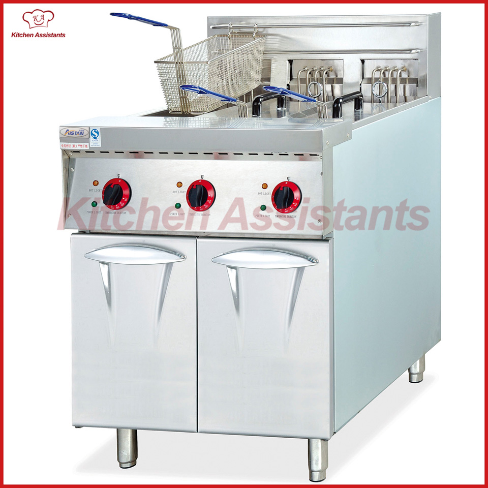 DF26-3 3 tank free standing electric oil fryer with cabinet for chicken fried цена