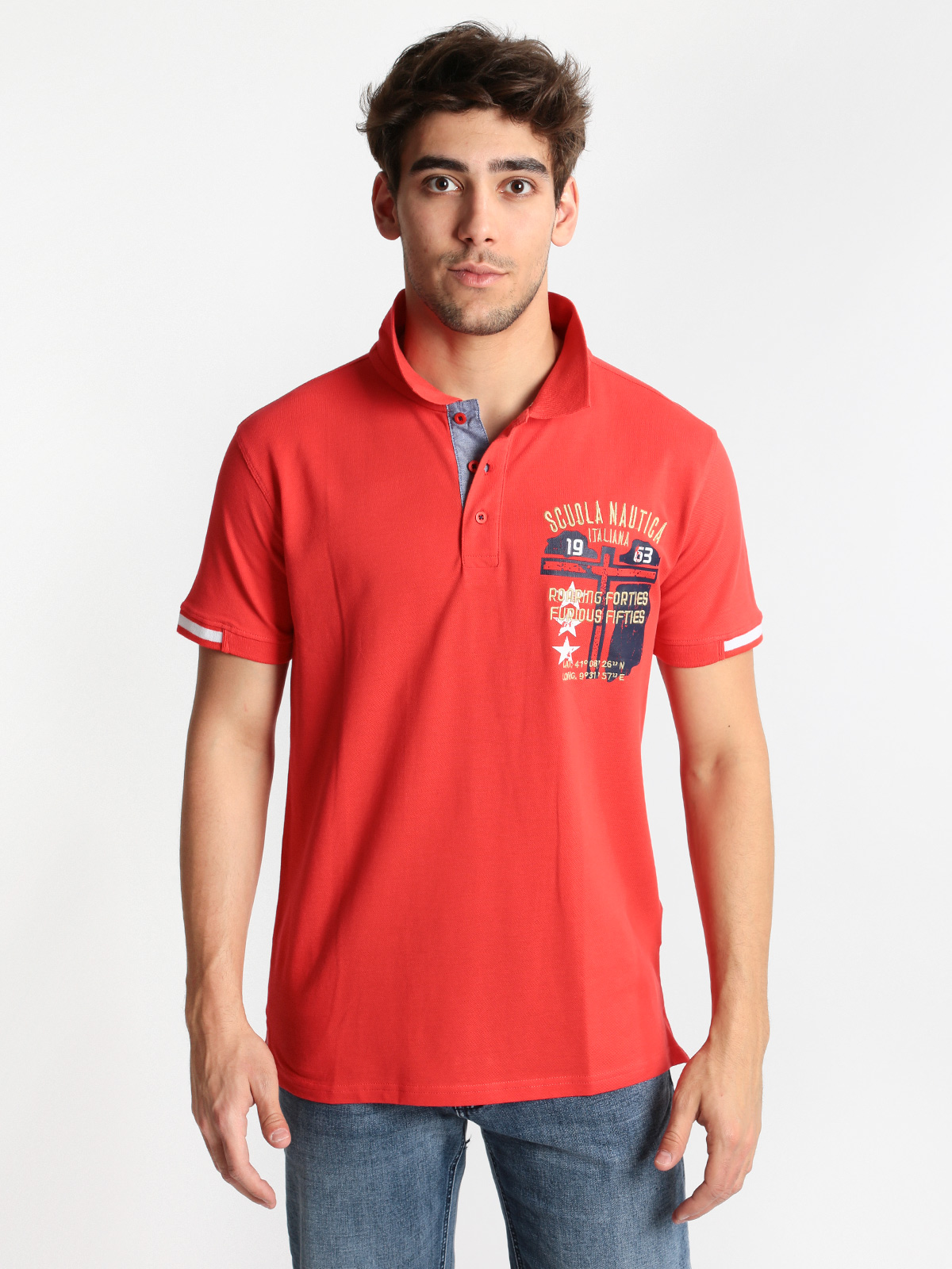 Red   polo   shirt short sleeve cotton