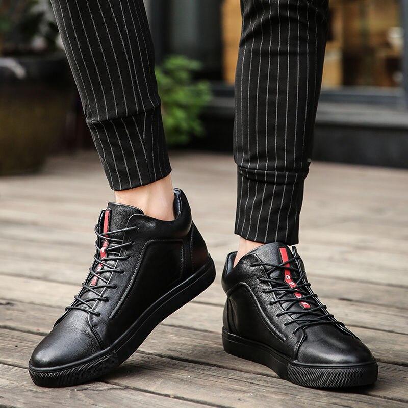 Inverno 2018 Preto 48 Respirável Black Homens Casuais Toursh Fur Novas 36 black De Genuíno Sapatos Ao Tamanhos Couro Livre Masculinos Grandes Dos Botas Ar wAdI4q