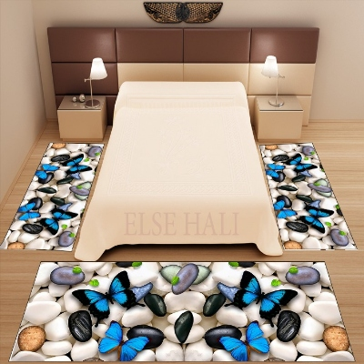 Else 3 Piece Gray White Stones Blue Butterfly 3d Pattern Print Non Slip Microfiber Washable Decor Bedroom Area Rug Carpet Set
