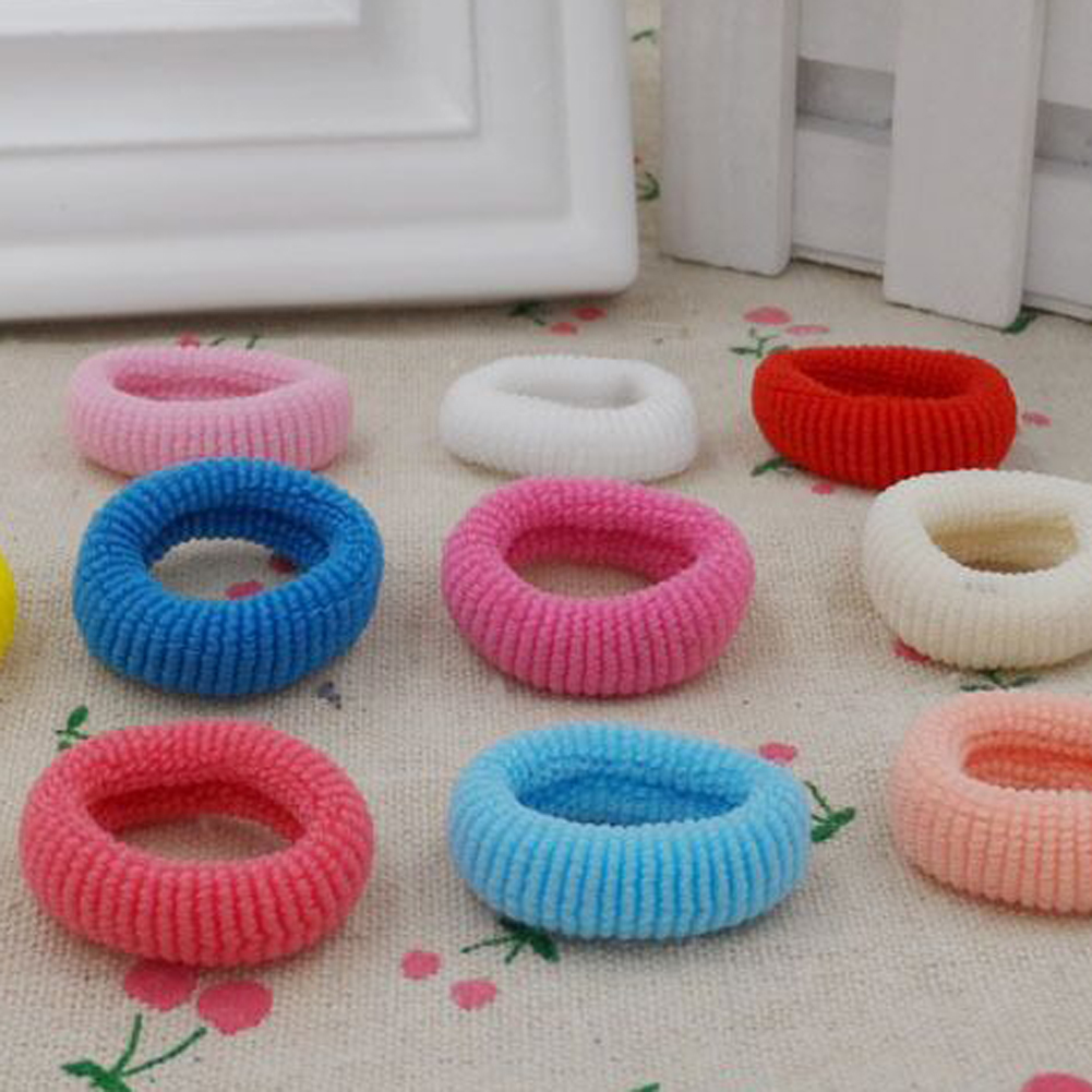 New 100pcs/set Hair Rope Towel Circle Elastic Hair Bands Headwear Chidren Cotton Ponytail Holder Hair Accessories mixed-color