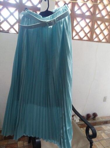 Elegant Women Long Skirt Bohemian High Waist Chiffon Skirt With Belt Beach Pleated Skirts Solid Tulle Maxi Saias Pink Blue Khaki photo review