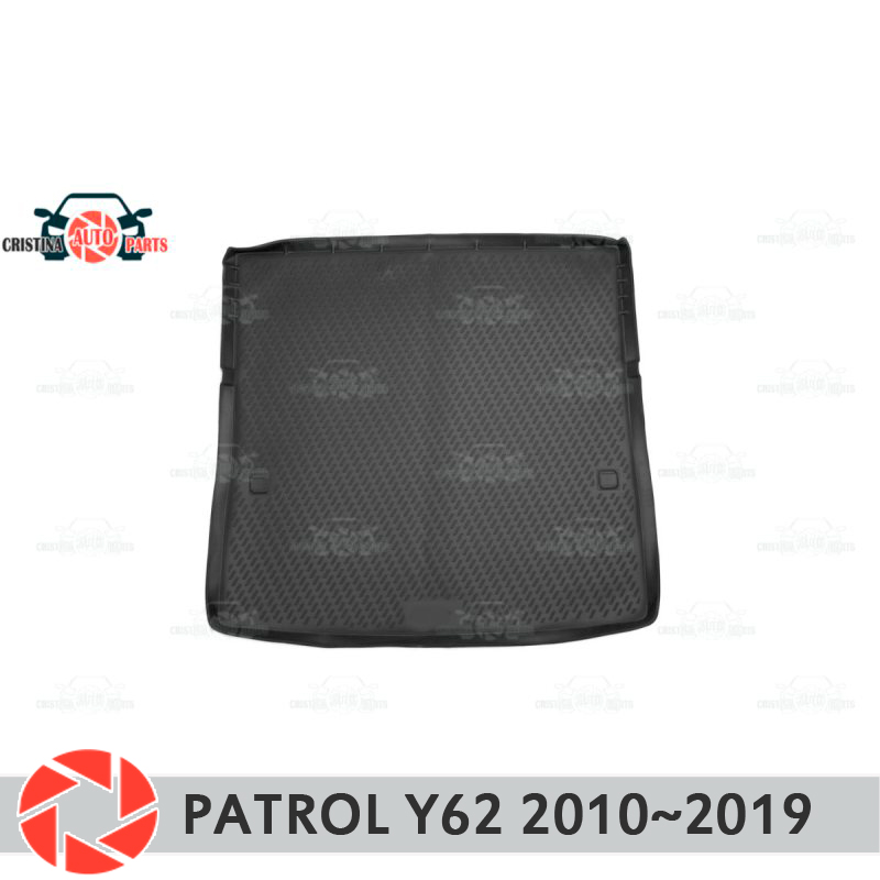Trunk mat for Nissan Patrol Y62 2010~2019 trunk floor rugs non slip polyurethane dirt protection interior trunk car styling 2013 2017 non slip console tray central armest tray refrigerator for nissan patrol y62 armada accessories
