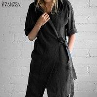 Plus Size 2017 Autumn ZANZEA Women Hooded Straight Dress Casual Solid Cardigan V Neck Half Sleeve