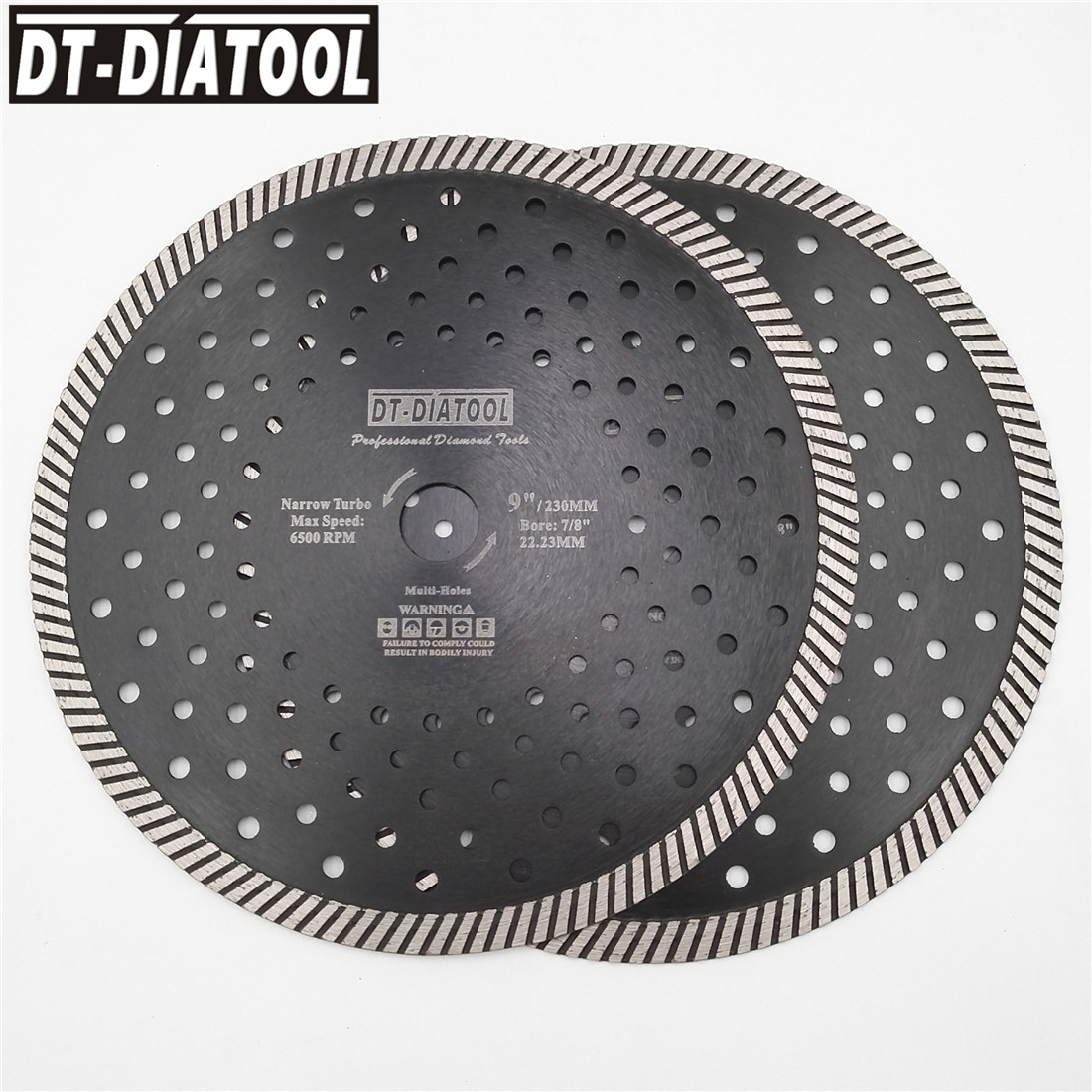 9 Inch DT-DIATOOL 2pcs 230MM Hot Pressed Narrow Turbo Diamond Blade Cutting Disc 10mm Segment Height Saw Blade For Grinder