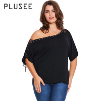 PLUSEE 2017 New Women Fashion Plus Size Black Tops Skew Collar Lace Up Decoration Sleeve Big