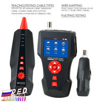 RJ45 RJ11 BNC Coax Network Digital Cable Tester Wire Tracker POE PING Ethernet Tester, STP/UTP 5E, 6E Free TF Card
