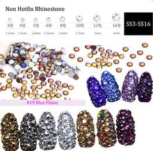 Blue-Fire Strass New ss3 ss4 ss5 ss6 ss10 ss12 ss16 1440pcs Nail Art Decoration Flatback Glass Stones Shiny Gems DIY (No.19)