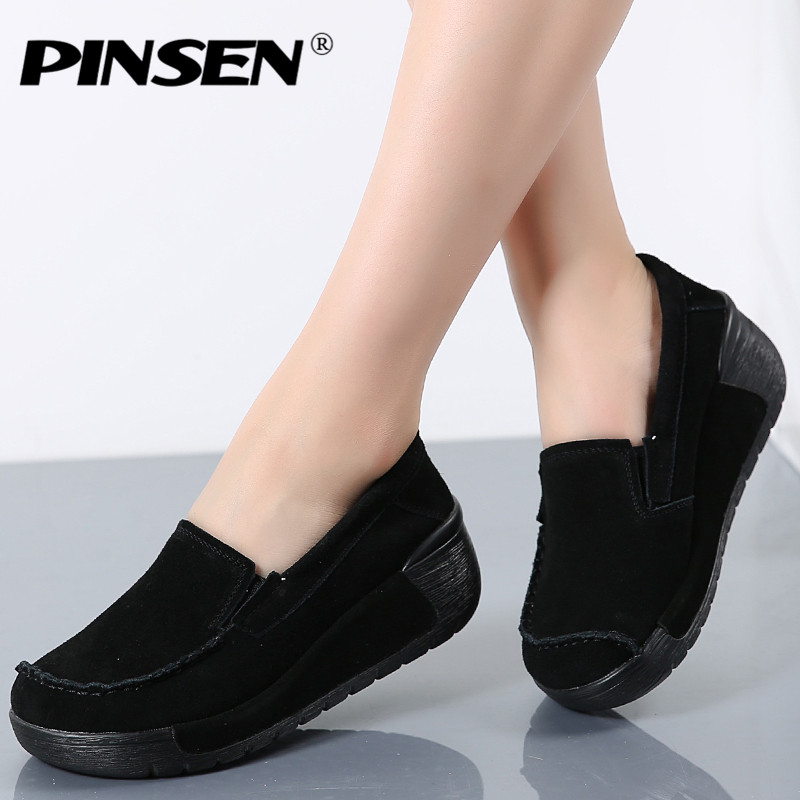 PINSEN 2017 Autumn women leather suede flat shoes women platform Slip on creepers shoes woman slip on flats moccasins shoes pinsen women flat platform shoes woman moccasin zapatos mujer platform sandals slip on for ladies shoes casual flats moccasins