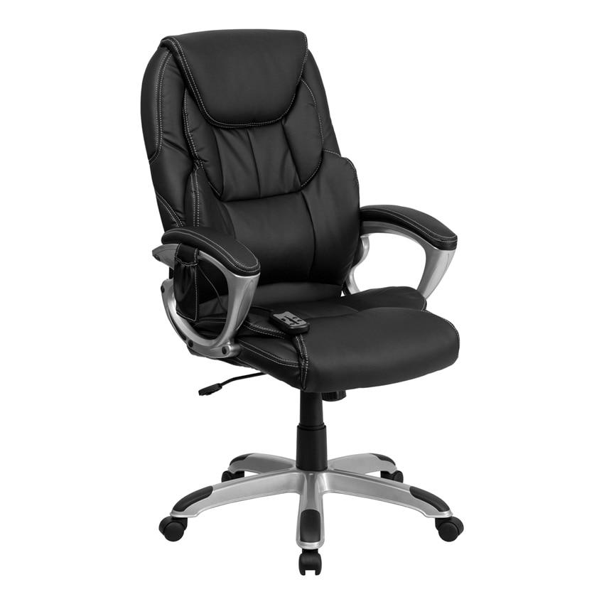 все цены на Flash Furniture High Back Massaging Black Leather Executive Office Chair with Silver Base [863-BT-9806HP-2-GG] онлайн