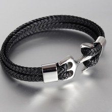 Braided Leather with Anchor Clasp Wristband