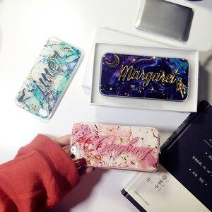 Image 4 - Funda de lujo para samsung galaxy s7, s8, s9, s10, note 8, 9, 10, nombre único personalizado, letras ostentosas, purpurina, escamas de mármol suave