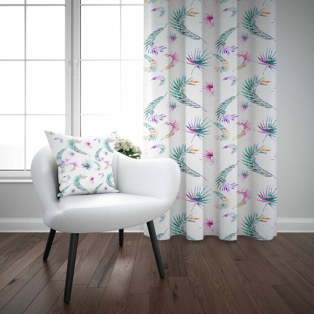 Else Green Tree Leaves Purple Floral Flowers 3d Decor Print Living Room Bedroom 1 Panel Set Curtain Combine Gift Pillow Case