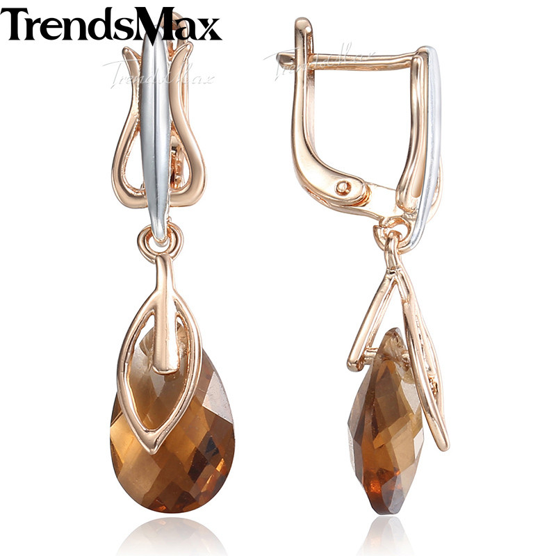 Us 4 49 30 Off Teardrop Brown Stone Women S Dangling Earrings 585 Rose Gold Drop For Woman Jewelry Gifts Dropshipping Kge72 In