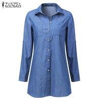 S 5XL Top Blusas ZANZEA Women Lapel Neck Long Sleeve Buttons Pockets Casual Solid Cotton Linen