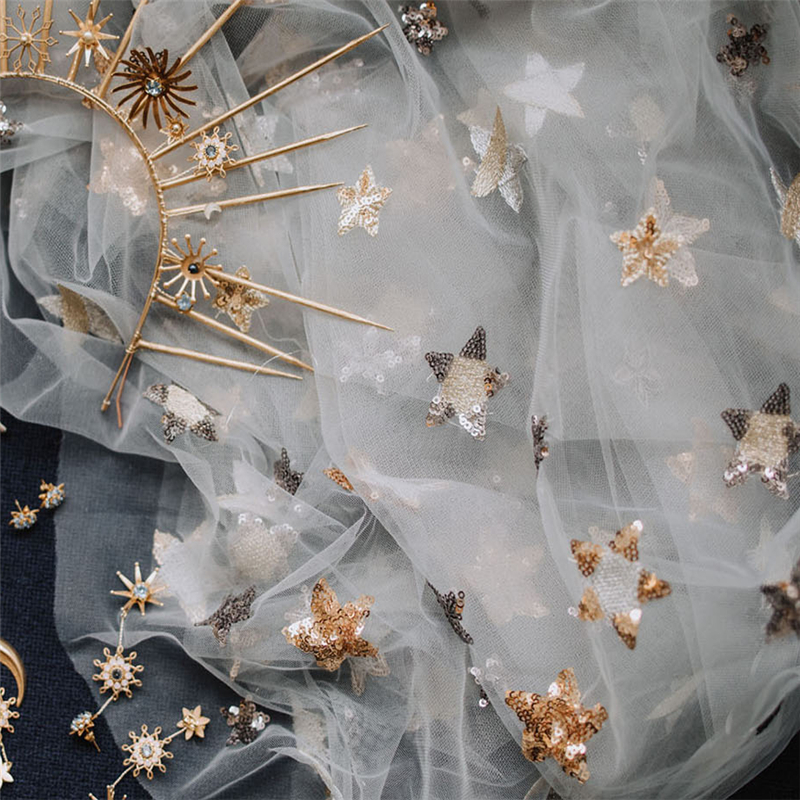 Beautiful Sequin Star Embroidery Print Lace Tulle Fabric For Bridal Gown Dress In Champagne, Gray, Navy Blue 91cm*150cm  -in Fabric from Home & Garden