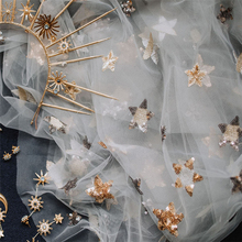 Beautiful Sequin Star Embroidery Print Lace Tulle Fabric For Bridal Gown wearing In Champagne, Gray, Navy Blue 91cm*150cm