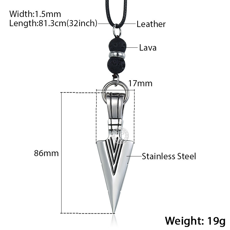 Men's Leather Necklace with Stainless Steel Gold Pendant